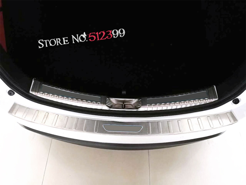 1* Stainless Steel Rear Trunk Sill Inner + Outer Scuff Bumper Protector Plate Cover Trim For Mazda CX-5 CX5 2nd Gen. 2017 2018 цена и фото