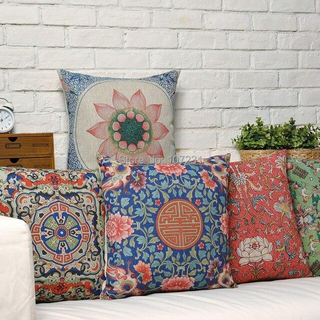 45X45cm Retro Floral Pillow Case Cushion Cover  Decor Home Creative Deer decorative throw pillows Cover