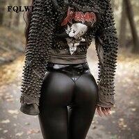 FQLWL панк облегающие брюки из искусственной кожи женские черные брюки с высокой талией женские осенние зимние брюки женские сексуальные брю...