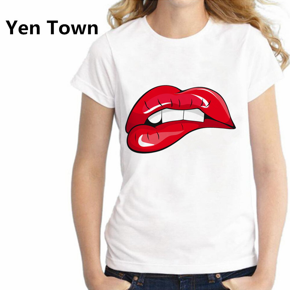 Áƒ¦ ƹ ӝ ʒ Áƒ¦yen Town Fashion Pop Art Kiss Cartoon Lip Women T Shirt Short Sleeve Casual Femme Spring Autumn Cotton Harajuku Tops S 2xl A268