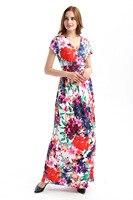 NOWA Czerwona Sukienka Dziewczyna Plus Rozmiar Sukienki Maxi Boho Style Kobiety krótki Rękaw Plaża Długa Sukienka Kwiatowy Print Rocznika Szyfonowa Szata Femme