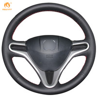Steering Wheel Cover For Honda Fit City Car Special Hand Stitched Black Leather Covers