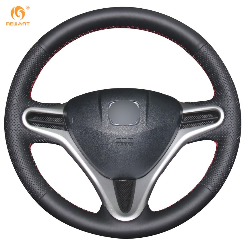 MEWANT Black Artificial Leather Car Steering Wheel Cover for Honda Fit 2009-2013 City Jazz