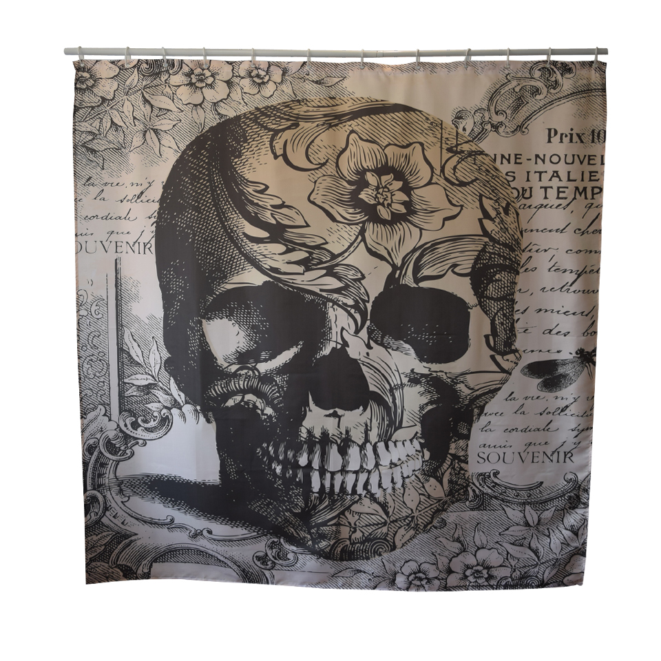 Papa&Mima Skull printed Waterproof Shower Curtains Polyester Bathroom Curtains With Hooks 180x180cm