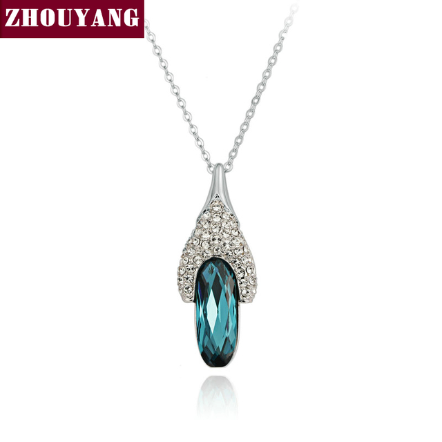 ZHOUYANG Top Quality ZYN066 Blue Gem Shoes Necklace  White Gold Plated Fashion Jewellery Nickel Free Pendant Crystal