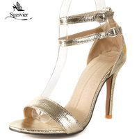 SGESVIER Summer New Classic Sandals Thin High Heels Peep Toe High Quality Sexy Fashion Party Shoes Woman Sandals Buckle OX316