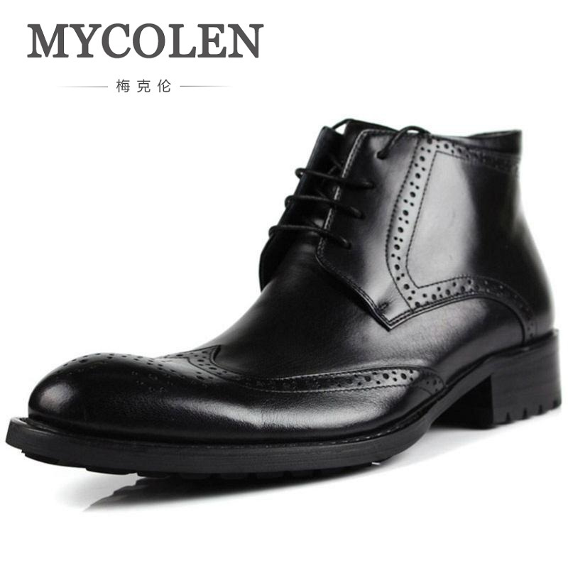 цена на MYCOLEN New Genuine Leather Bullock Martin Shoes Business Style Vintage Carved Men Lace-Up Leather Shoes Botas Masculinas