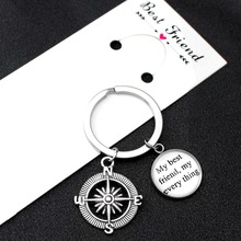 My Best Friends My Every Thing Compass Keychain Hand in Hand Pinky Swear Promise Keychains Key Chain KeyRing Women Men Jewelry цена и фото