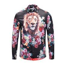 Seestern marca ropa hombres camisa de impresión 3D lion head peony flor  amor corona moda juventud Algodón puro ocio tops 45961ac6d6d9