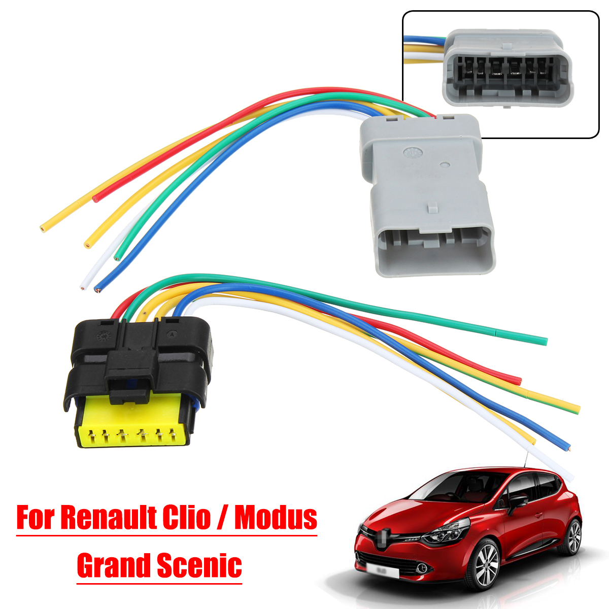 1set window module wiring ponytail harness plastic plug for renault clio grand scenic modus [ 1200 x 1200 Pixel ]