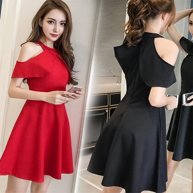 4aa9926bf959a7 Vrouwen Flare Mouwen polyester strapless Jurk Elegante Rood Zwart Mini  Winter Mouwloze volledige jurken voor party