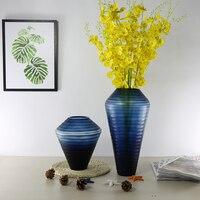 Handmade colored blue glass luxury vase for wedding decoration home decor Tabletop vases for flowers floor vase gift terrarium