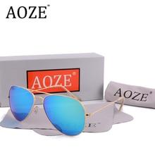 AOZE Brand designer pilot sunglasses men Driving G15 58mm glass lens Oculos Gafas women UV400 H2O Blue rays with case