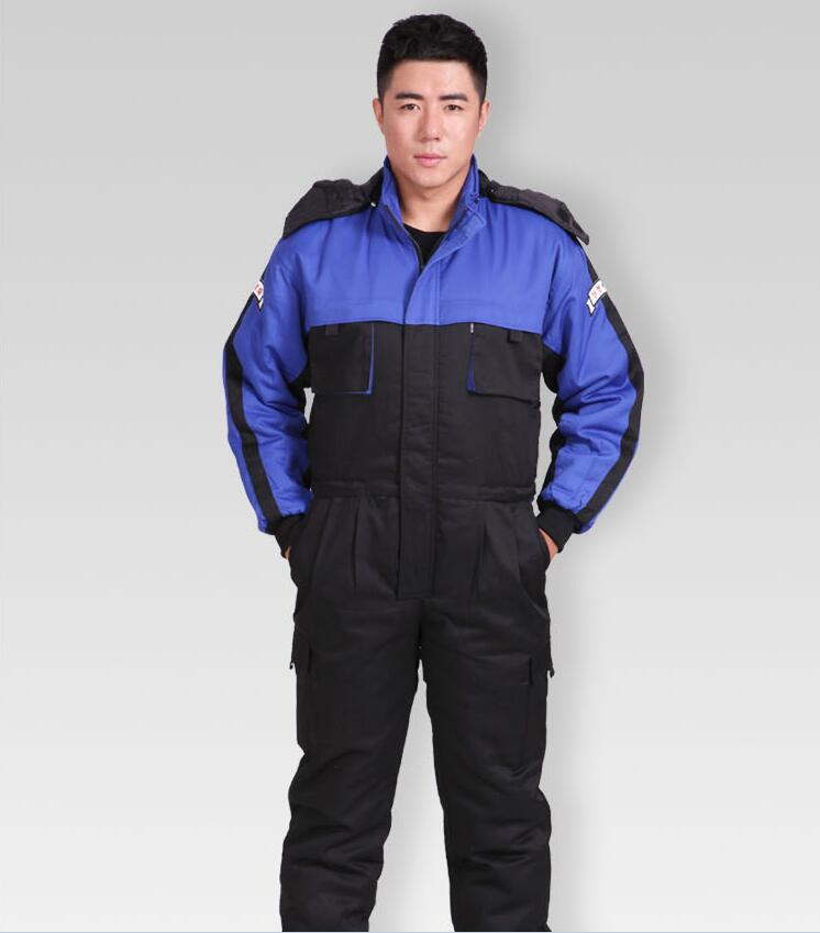 2018 Winter Thick Warm Cotton Safety Clothing Coverall Jacket Warm Jumpsuit Windproof Factory/4S Car Shop Worker Working Clothes factory workman safety clothing thicken warm windproof cotton jumpsuit sets free shipping