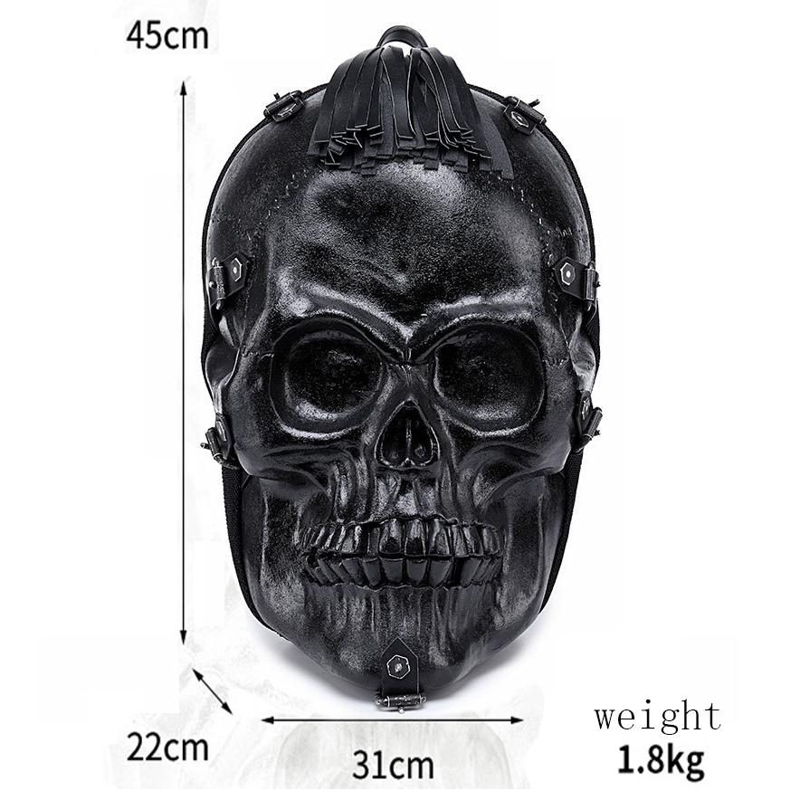 Fashion Black Skull 3D Backpack Halloween Vintage Rock Shoulder Bag PU Leather Men Women Large Capacity Laptop School Travel Bag 2017 brand designer women simple style backpack fashion pu leather black school bag for girls large capacity shoulder travel bag