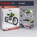 Kawasaki kx 450f maisto 1:12 motocicleta modelo crianças toy verde coleção de motocross mountain bike presente para as crianças