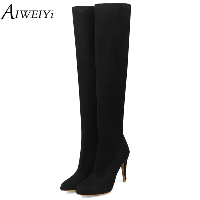 AIWEIYi New Over The Knee High Boots Women Shoes Big Size 34-43 Thigh High Boots Woman Round Toe High Heel Platform Shoes memunia big size 34 43 over the knee boots for women fashion shoes woman party pu platform boots zip high heels boots female