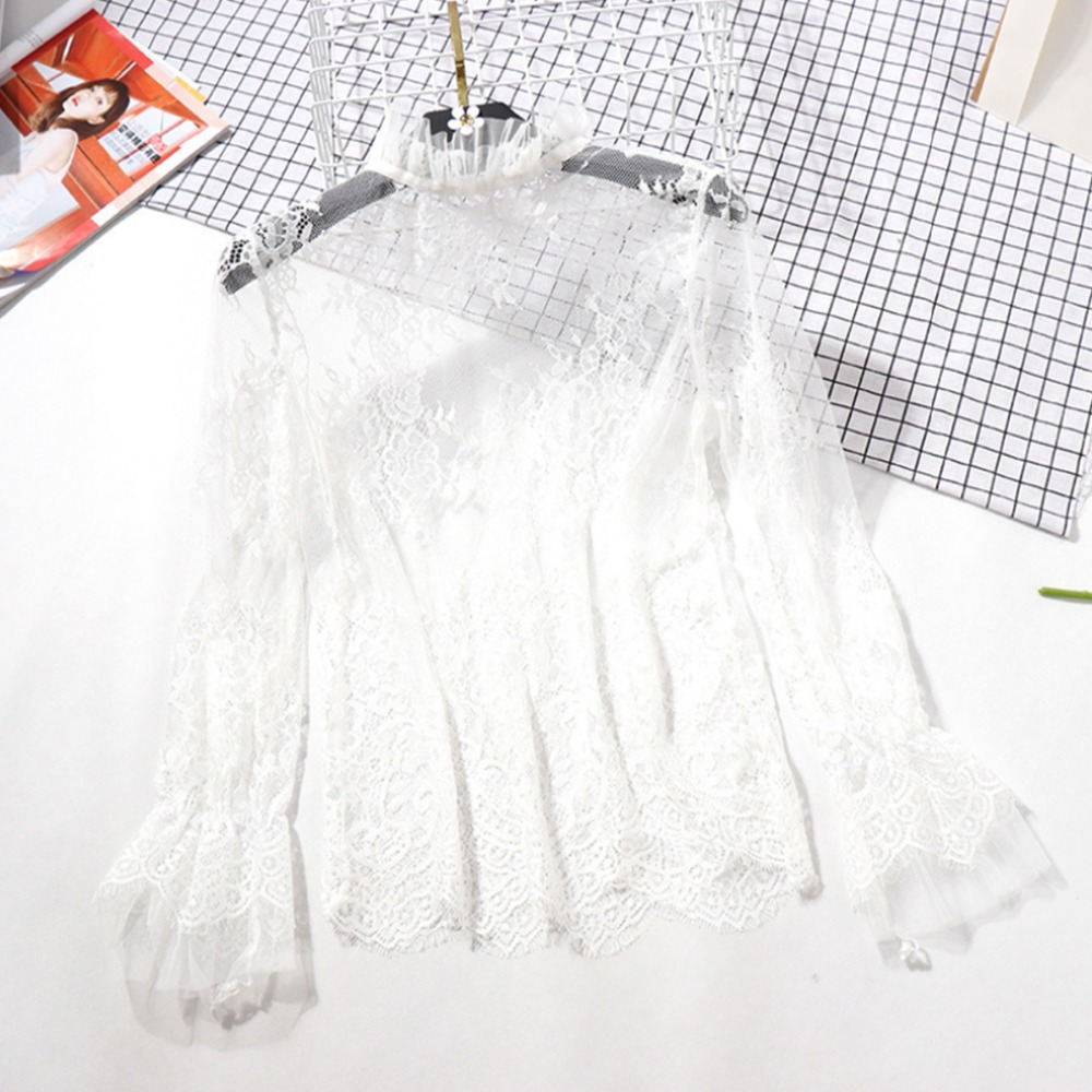 Sexy mesh   Blouses   See-through Solid Long Flare Sleeve   Shirt     Blouse   Fashion Spring Summer Women Lace   Blouses     Shirt   tops