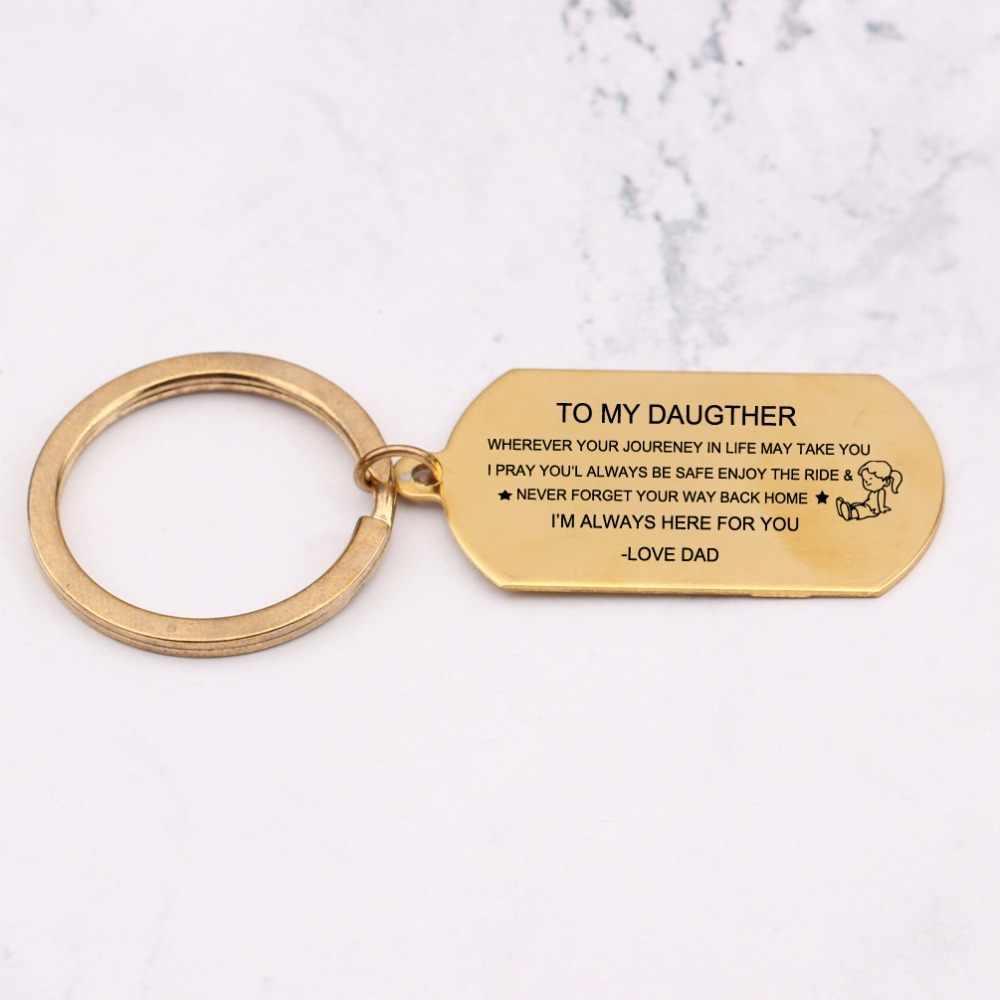 Лазерная гравировка на мой Daugther маленькая девочка брелоки подарки от родителей выражение брелок любовь дети ключи держатель сумка Шарм