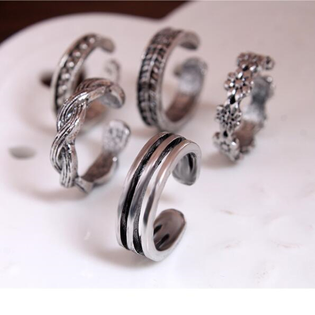 new Punk Rose Women Unique Adjustable Toe Opening Finger Ring Simple Sliver Plat