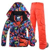 Gsou снег 2018 лыжный костюм куртка + штаны, Для мужчин костюм, одной плате, бурелом, открытый Водонепроницаемый и теплый, бесплатная доставка,