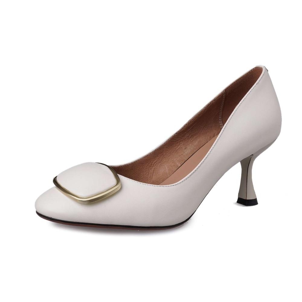 Lenkisen Hollywood película estrellas cuero genuino elegante señora tacones altos modelo vestido bombas metal decoración zapatos de punta cuadrada L3f1-in Zapatos de tacón de mujer from zapatos    2