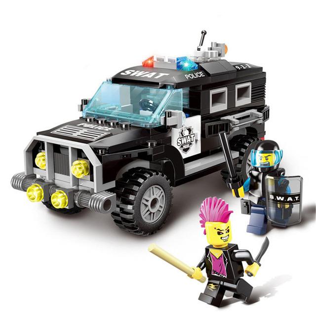 190Pcs Enlighten City Series Police Swat Car Building Block sets Bricks Toys For Children Compatible legoelieds Lepin