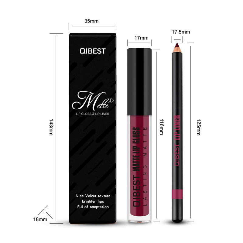 Qibest ブランド 10 色リップ Glosss + リップライナー化粧品リップリップグロスマット液体口紅セットメイクアップ美容化粧品
