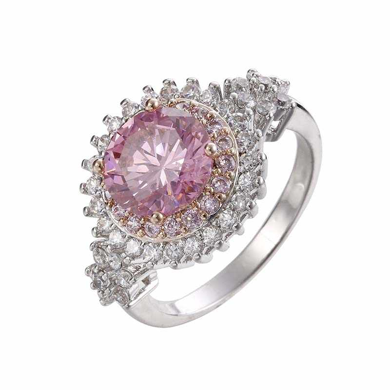 Luxury Female Round Gear Finger Ring Fashion Pink Zircon Stone Ring White Gold Filled Jewelry Promise Engagement Rings For Women