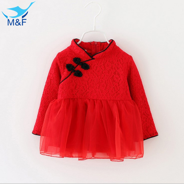 M&F Baby Girls Dresses Kids Spring Long Sleeve Infant Princess Dress Flower Butterfly Ribbon Toddler A-line Lace Newborn Clothes