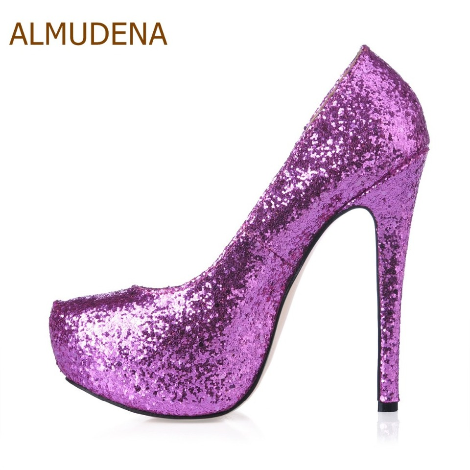 Almudena Top Brand Lavender Blue Gold Bling Bling Sequined Pumps