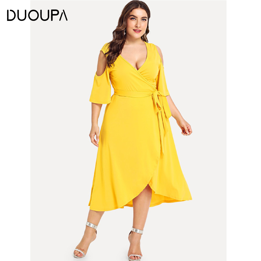 DUOUPA Casual Loose Large Size Summer Womens 2019 Long Dress Short-sleeved Split Lace