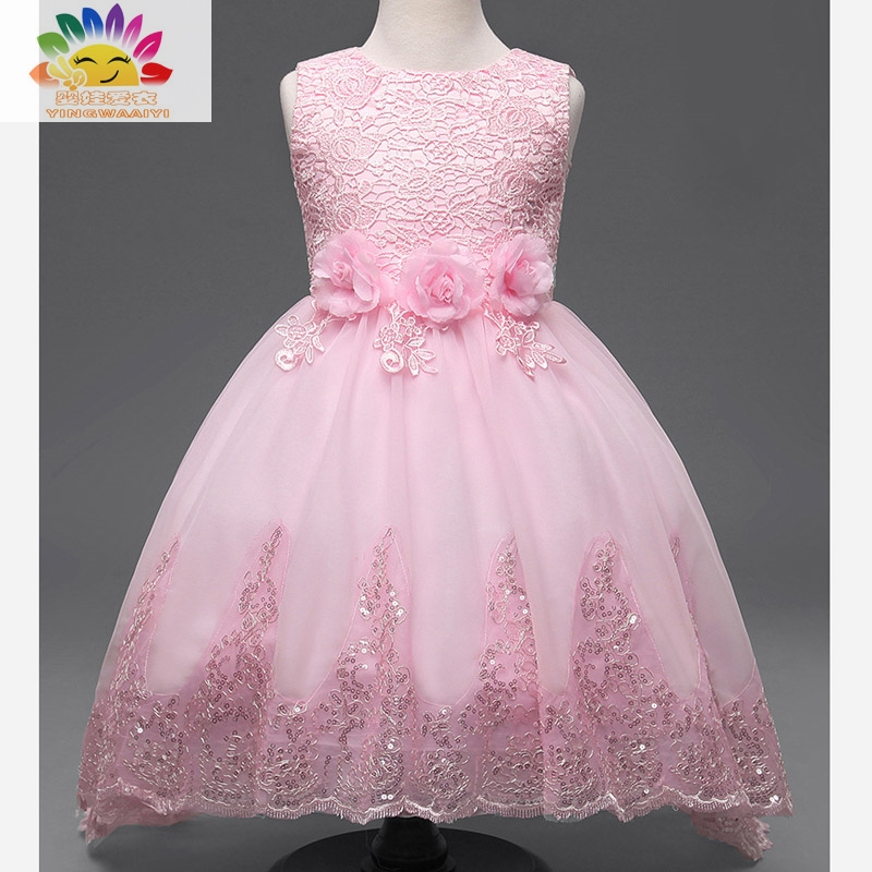 Yingwaaiyi party girl dress children costume princess lace dresses for little girls sequin dress Children clothes