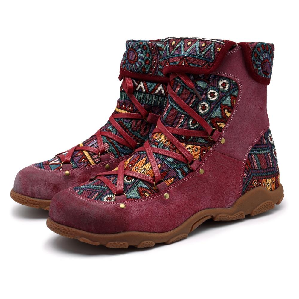 Johnature Vintage 2019 nowy buty do kostki ze skóry naturalnej dla kobiet zima jesienne buty damskie kobieta na zewnątrz płaskie botki w Buty do kostki od Buty na  Grupa 1