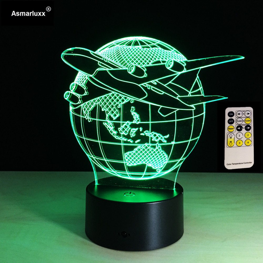 Mini Plane Fly Earth 3D Lamp 7 Color Change Remote or Touch Switch 3d Night Light Aircraft Lumina Kids Room Light Birthday Gift
