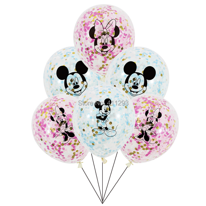Mickey Minnie Mouse Balloons Kids Cartoon Party Balloons Boy Girl Birthday Party Decorations Clear Confetti Balloons