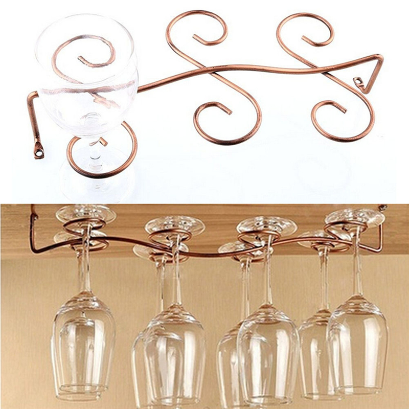6 Hooks Cup Holder Hang Kitchen Cabinet Under Shelf: 1PCS 6/8 Wine Glass Rack Stemware Hanging Under Cabinet