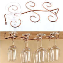 1PCS 6/8 Wine Glass Rack Stemware Hanging Under Cabinet Holder Bar Kitchen Screws Wholesale(China)
