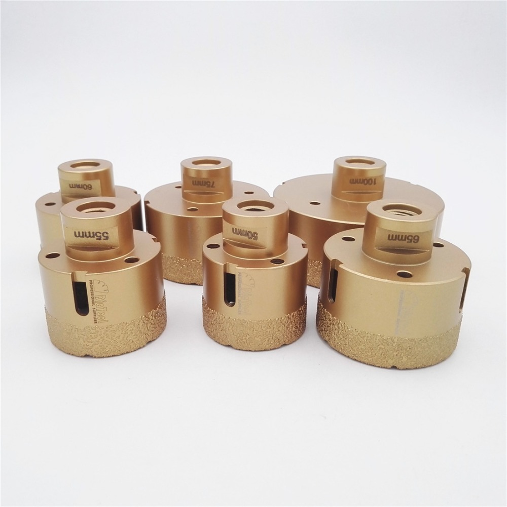 DIATOOL 6pcs Vacuum Brazed Diamond Drill Core Bits With 15MM Diamond Height, Dia 50/55/60/65/75/100mm M14 Bit Drill Big Hole Saw diatool 5pcs set vacuum brazed diamond drill core bits with 15mm teeth 20 32 45 55 68mm hole saw granite marble ceramic tile