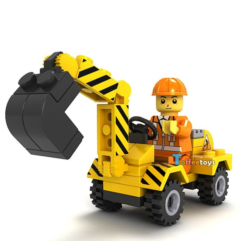 JIE STAR City Construction Team Mini Excavator Building Blocks Sets Bricks Model Kids Toys Compatible Legoe jie star engineering truck 3 kinds deformations city construction building blockstoys for boys kids educational blocks 21009