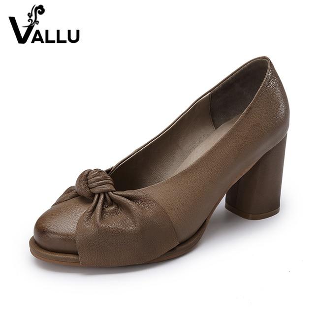 2017 Handmade Women Shoes High Heels Genuine Leather Women Pumps Butterfly Knot Chunky Heels Sheepskin Vintage Style