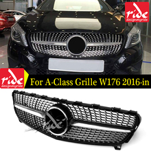 For MercedesMB W176 Sports Front Diamond Grille ABS Glossy Black A-Class A180 A250 A200 A45 Without sign Grills 2016-in