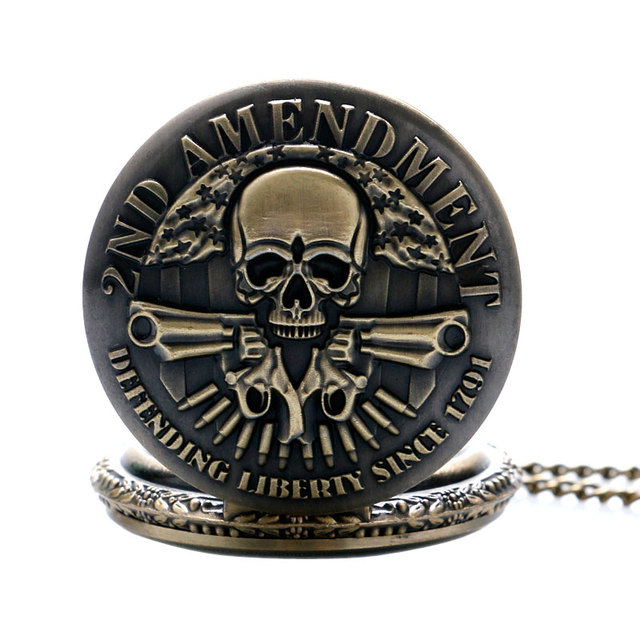 Cool 2nd Amendment USA Theme Bronze Quartz Pocket Watch With Necklace Chain Best
