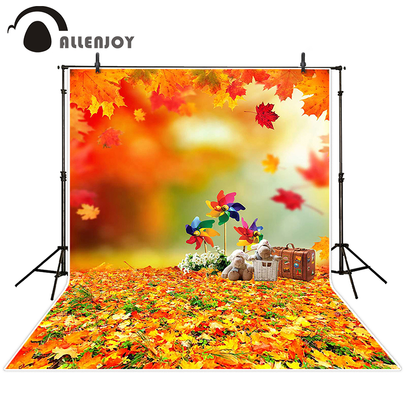 Allenjoy photographic background Fuzzy teddy bear leaves windmill backdrops newborn children Excluding bracket photocall 10x20