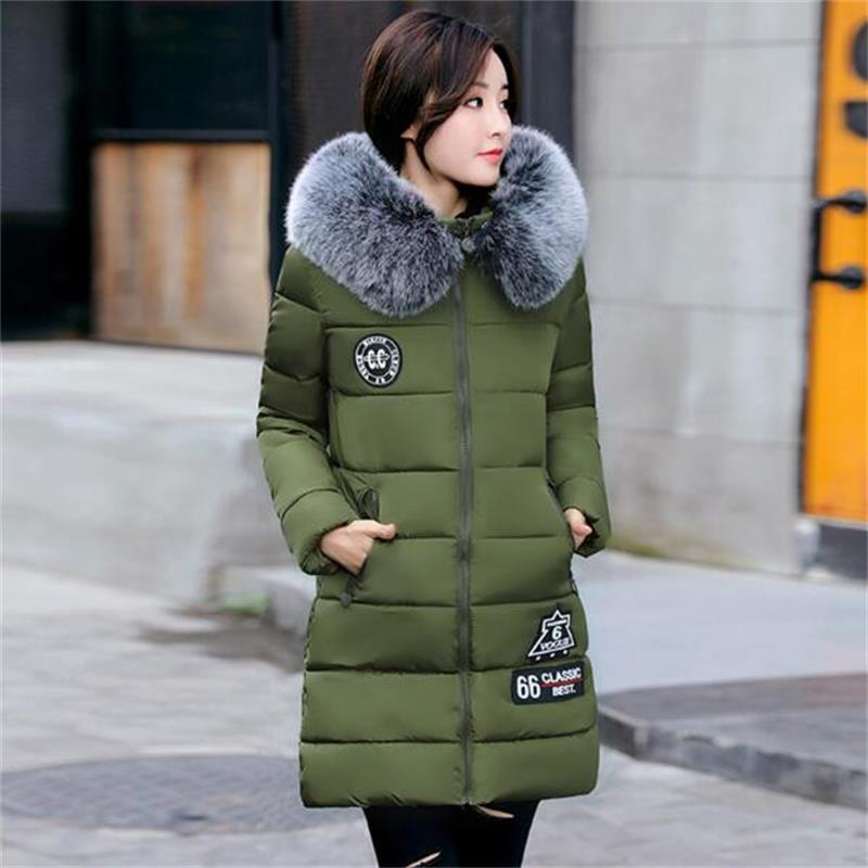 2017 New Parkas Winter Warm Women Coat Hooded Fur Collar Outerwear Female Thick Wadded Jacket Spliced Casual Style Overcoat new arrival 2017 winter jackets women wadded coat female thick warm overcoat large fur collar hooded long parkas plus size ok445