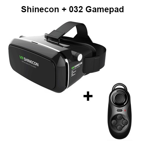 VR Shinecon Pro Goggles Virtual Reality Mobile VR 3D Glasses Headset BOX Cardboard Helmet for 4-6' Smartphone + Control vr shinecon 3d vr headset