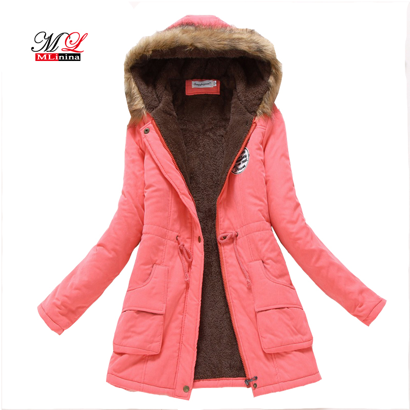 MLinina New Winter Military Coats Women Cotton Wadded Hooded Jacket long Casual   Parka   Thickness Plus Size 3XL Coat Snow Outwear