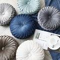European Luxury Velvet Cushion Round Handmade Throw Pillow Pleated Wheel Pumpkin Seat Cushion 38*11 cm