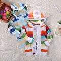 2015 девочка свитер мода полоса мода вязаный кардиган синий с длинным рукавом высокое качество марка vetement bebe гарсон fille