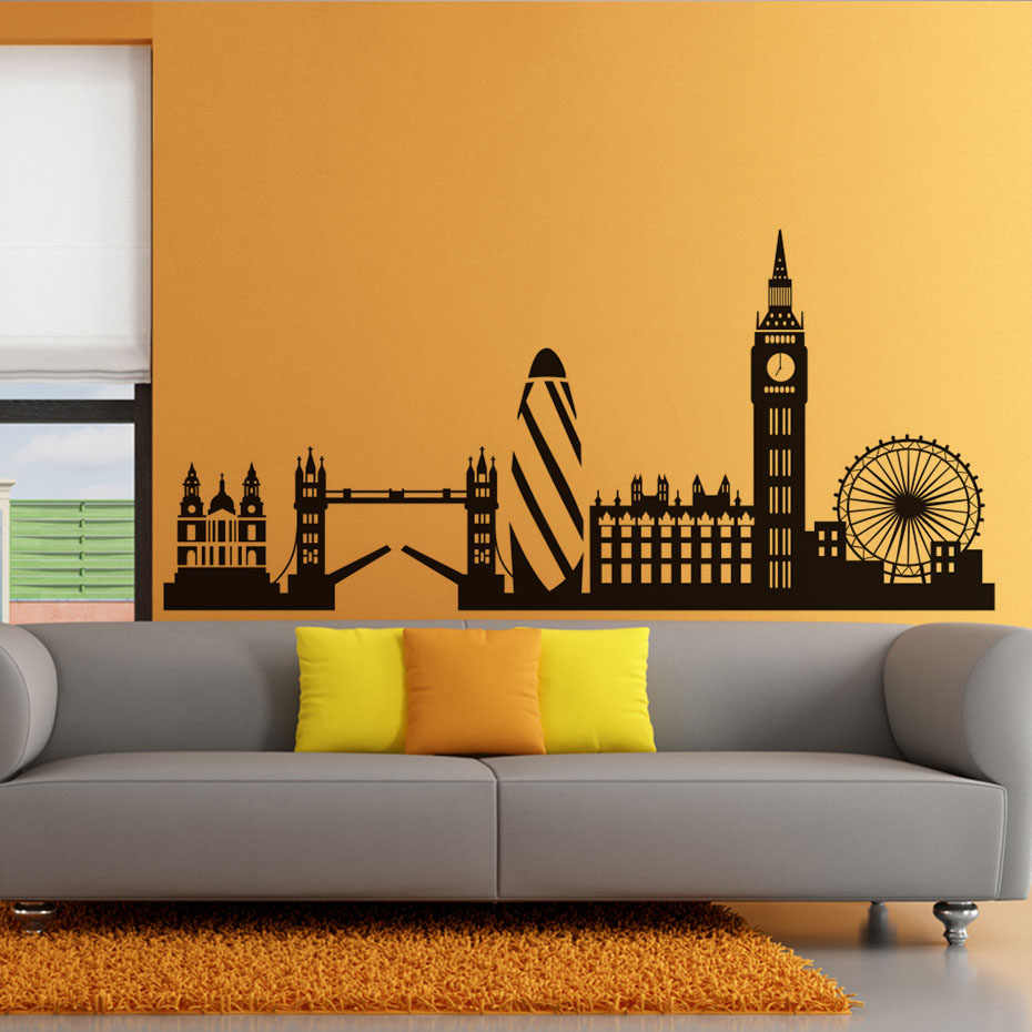 High Quality City Building Home Decor London Skyline Wall Sticker Big Ben Landmark Self Adhesive Vinyl Mural Decal